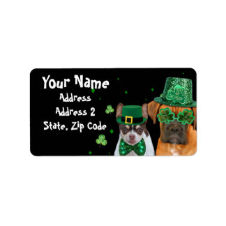 St. Patrick's Boxer dog shipping Labels