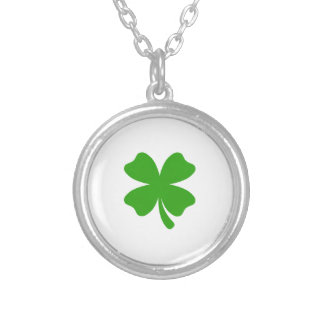 st patricks clover emoji silver plated necklace
