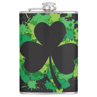 St. Patricks Clover Vinyl Wrapped Flask