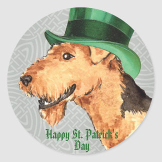 St. Patrick's Day Airedale Classic Round Sticker