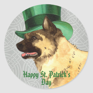 St. Patrick's Day Akita Round Sticker