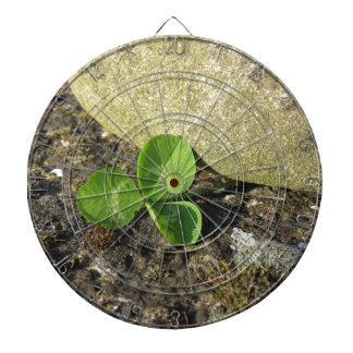 St. Patrick's Day background with clover by stone Dartboard With Darts