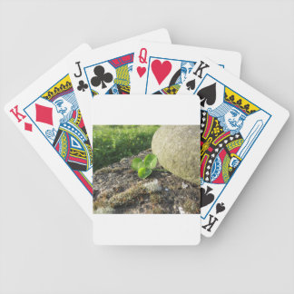 St. Patrick's Day background with clover by stone Poker Deck