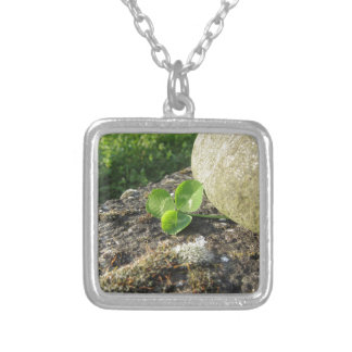 St. Patrick's Day background with clover by stone Silver Plated Necklace