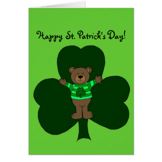 St. Patrick's Day Bear and shamrock card