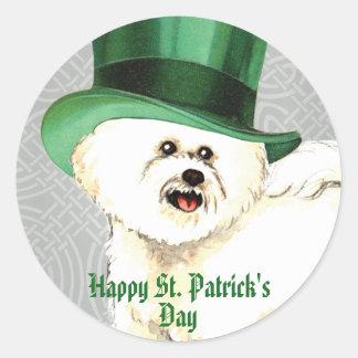 St. Patrick's Day Bichon Round Sticker