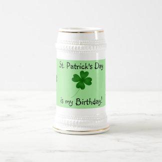 St. Patrick's day birthday 4 leaf clover Beer Stein