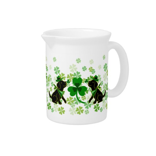 St. Patrick's Day Black Labrador Pitcher