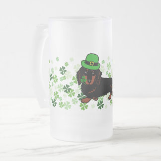 St. Patrick's Day Black Tan Dachshund 2 Glass Frosted Glass Beer Mug