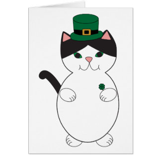 St Patricks Day Black White Cat Green Personalize Card