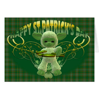 St. Patrick's Day Blessing card, green shamrock, c Card