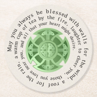 St. Patrick's Day Blessing Round Paper Coaster
