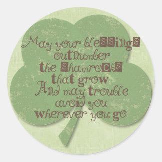 St. Patricks Day Blessing Round Sticker