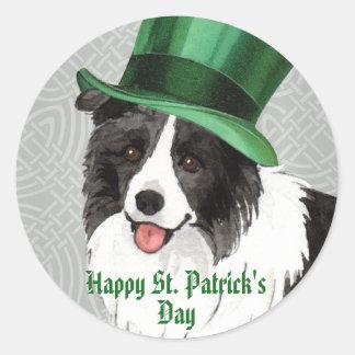 St. Patrick's Day Border Collie Round Sticker