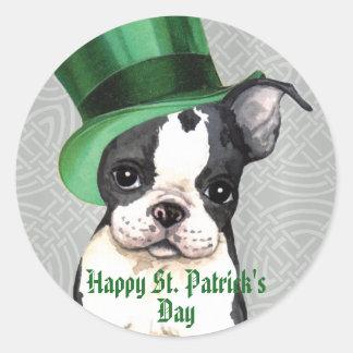 St. Patrick's Day Boston Terrier Round Sticker