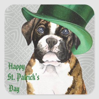 St. Patrick's Day Boxer Square Sticker