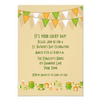 """St. Patrick's Day Bunting and Icons 5"""" X 7"""" Invitation Card"""