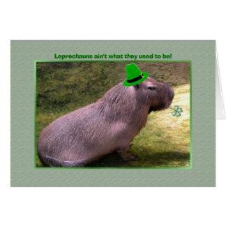 St. Patrick's Day Capybara Leprechaun Card