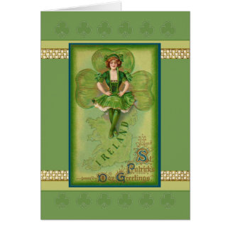 St. Patrick's Day card vintage image with girl