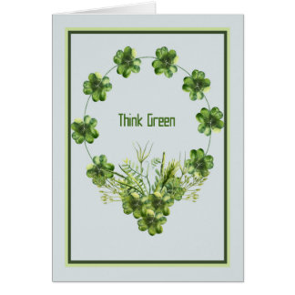 St. Patrick's Day Card with Shamrock Wreath