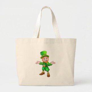 St Patricks Day Cartoon Leprechaun Large Tote Bag