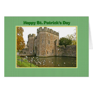 St Patrick's Day Castle and Moat with Seagulls Card