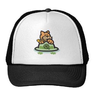 St. Patrick's Day Cat Mesh Hat