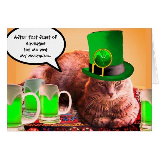 ST. PATRICK'S DAY CAT LEPRECHAUN HAT IRISH BEERS CARD
