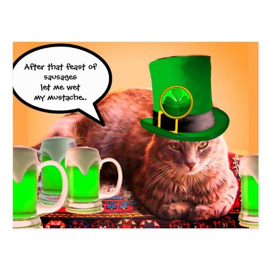 ST. PATRICK'S DAY CAT LEPRECHAUN HAT IRISH BEERS POSTCARD