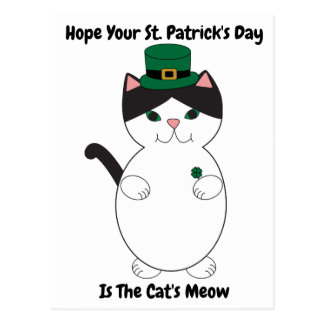 St Patricks Day Cat Shamrock Green Personalize Postcard
