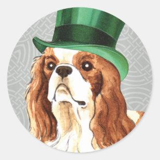 St. Patrick's Day Cavalier Round Stickers