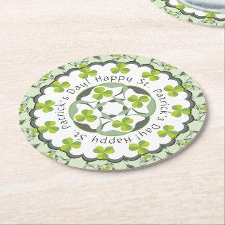 St. Patrick's Day Celtic Shamrock Clover Pattern Round Paper Coaster