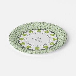 St. Patrick's Day Celtic Shamrock Personalized 7 Inch Paper Plate