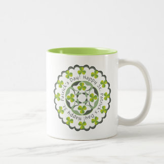 St. Patrick's Day Celtic Shamrocks Clover Graphic Two-Tone Coffee Mug