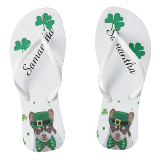 St. Patrick's Day chihuahu personalized flip flops