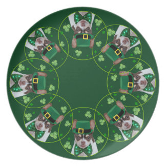 St. Patrick's day Chihuahua dog dinner plate