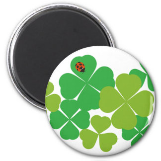 St. Patrick's Day Clover & Ladybug 2 Inch Round Magnet