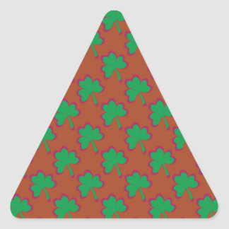 St. Patrick's Day Clover-Leaf Seamless Pattern Triangle Sticker