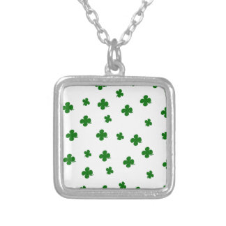 St. Patricks day clover pattern Silver Plated Necklace