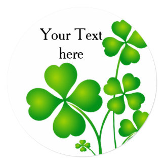 "St. Patrick's Day Clover / Shamrocks + your ideas 5.25"" Square Invitation Card"