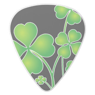 St. Patrick's Day Clover / Shamrocks + your ideas White Delrin Guitar Pick