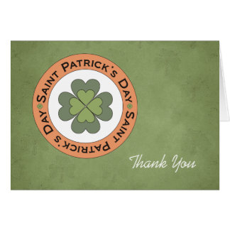 St Patrick's Day Clover Stamp Thank You Card
