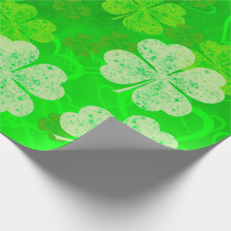 St Patrick's Day Clovers and Hearts Wrapping Paper
