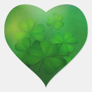 St Patrick's Day - Clovers/Shamrocks Heart Sticker