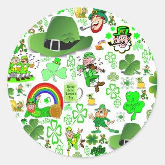 St Patrick's Day Collage Classic Round Sticker