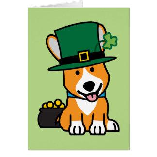 St. Patrick's Day Corgi Leprechaun Dog Puppy Doggy Note Card