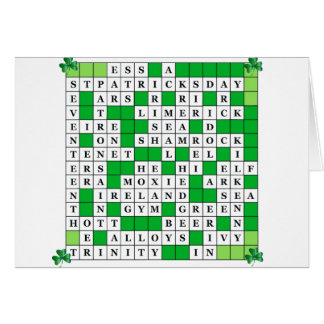St Patrick's Day Crossword on Card