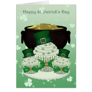 St. Patrick's Day Cupcake And Pot Of Gold Card