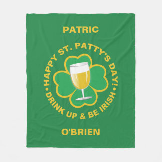 St. Patrick's Day custom name fleece blanket