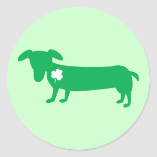 St. Patrick's Day Dachshund Round Stickers